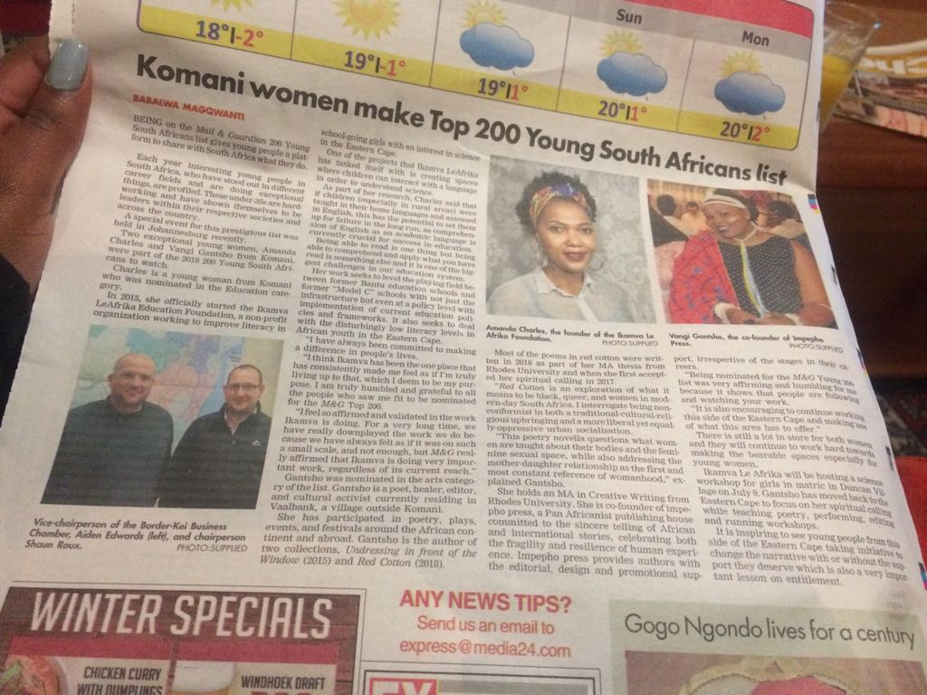 Queenstown Express Newspaper Correspondent, Komani women, top 200 women in South Africa 2018