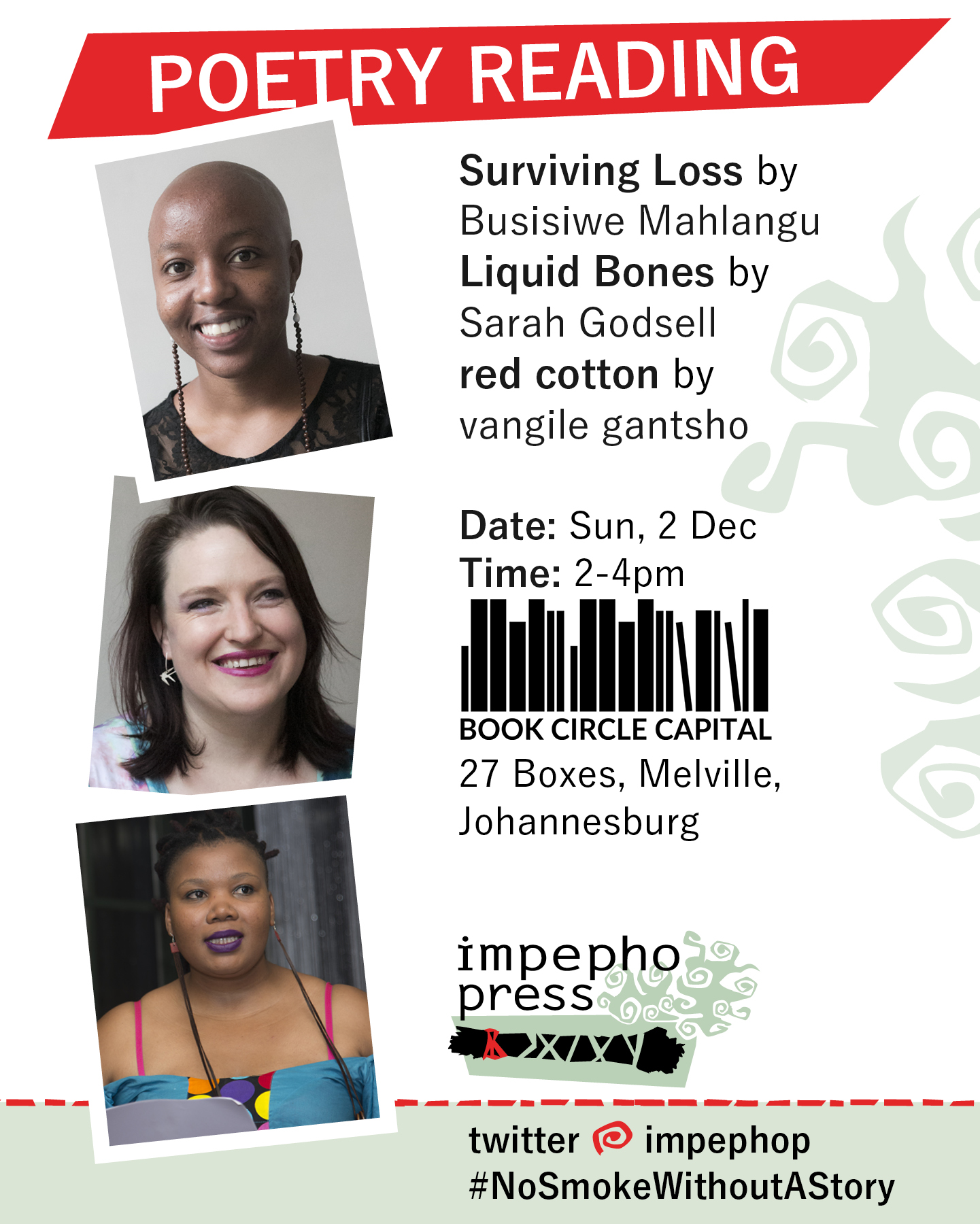 Surviving Loss by Busisiwe Mahlangu Liquid Bones by Sarah Godsell red cotton by vangile gantsho poetry reading, performance poetry, feminist, african, pan-african, south african