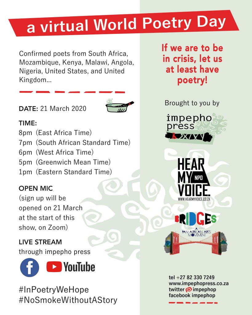 World Poetry Day, impepho press, virtual via zoom