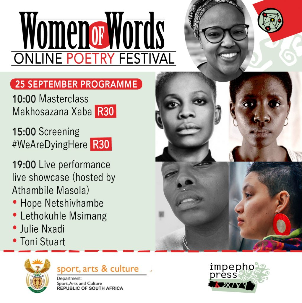 Wome of Words powetry schedule 25 & 26 September