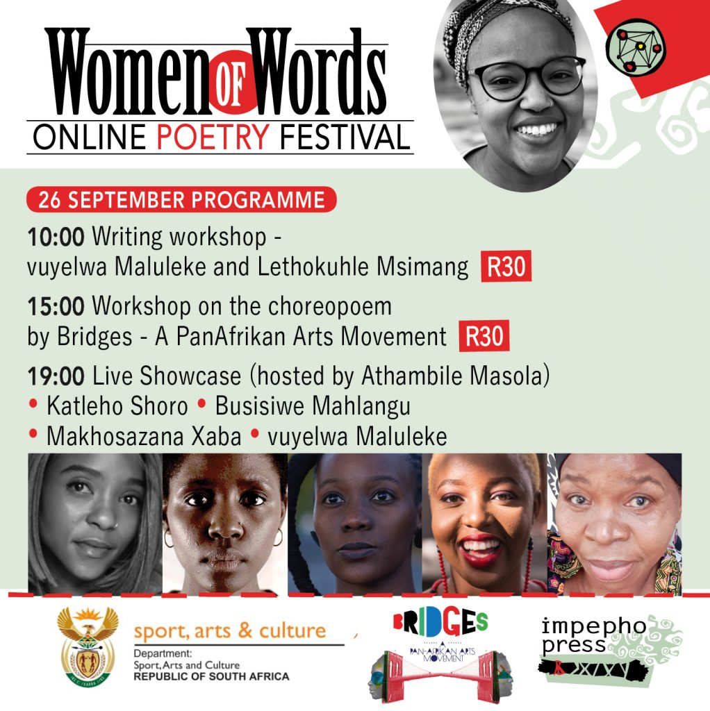 Schedule for Women of Words Poetry 25 and 26 September